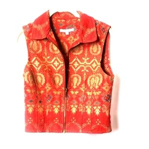 Sz s Cabi zip-up red and gold tapestry vest.  A40